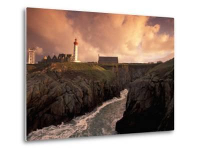 Pointe De St. Mathieu Lighthouse at Dawn, Brittany, France-Walter Bibikow-Metal Print