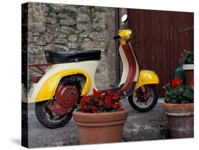 Scooter, Preggio, Umbria, Italy-Inger Hogstrom-Stretched Canvas Print