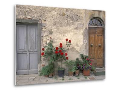 Tuscan Doorway in Castellina in Chianti, Italy-Walter Bibikow-Metal Print