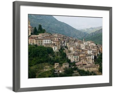 Mountain Town, Anversa di Abruzzi, Abruzzo, Italy-Walter Bibikow-Framed Photographic Print