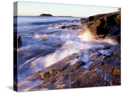 Sunlight Hits the Waves, Schoodic Peninsula, Maine, USA-Jerry & Marcy Monkman-Stretched Canvas Print