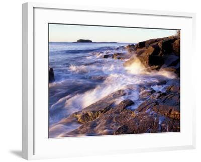 Sunlight Hits the Waves, Schoodic Peninsula, Maine, USA-Jerry & Marcy Monkman-Framed Photographic Print