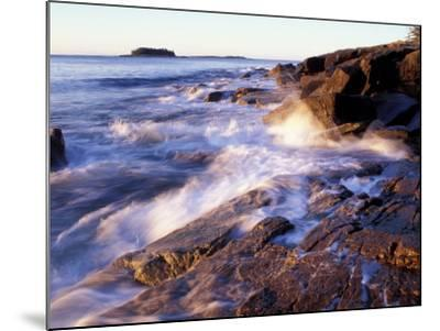 Sunlight Hits the Waves, Schoodic Peninsula, Maine, USA-Jerry & Marcy Monkman-Mounted Photographic Print