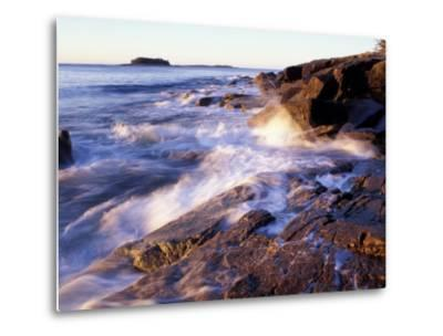 Sunlight Hits the Waves, Schoodic Peninsula, Maine, USA-Jerry & Marcy Monkman-Metal Print