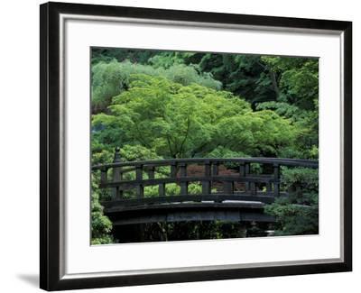 Footbridge in Japanese Garden, Portland, Oregon, USA-Adam Jones-Framed Photographic Print