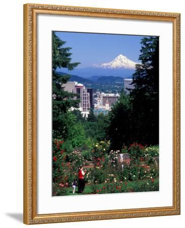 People at the Washington Park Rose Test Gardens with Mt Hood, Portland, Oregon, USA-Janis Miglavs-Framed Photographic Print