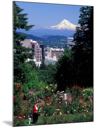 People at the Washington Park Rose Test Gardens with Mt Hood, Portland, Oregon, USA-Janis Miglavs-Mounted Photographic Print
