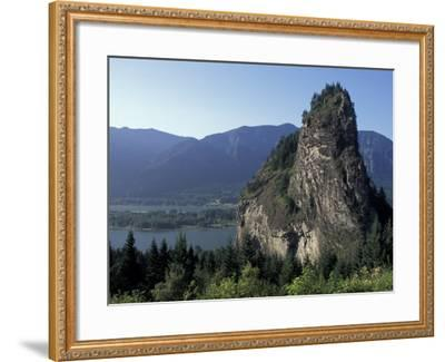 View of Beacon Rock on the Columbia River, Beacon Rock State Park, Washington, USA-Connie Ricca-Framed Photographic Print