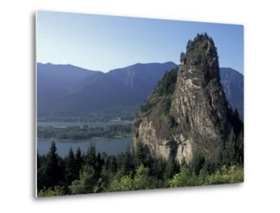 View of Beacon Rock on the Columbia River, Beacon Rock State Park, Washington, USA-Connie Ricca-Metal Print