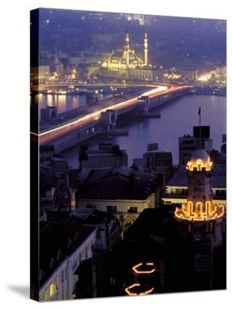 Yeni Mosque and the Galata Bridge, Istanbul, Turkey-Ali Kabas-Stretched Canvas Print