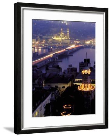 Yeni Mosque and the Galata Bridge, Istanbul, Turkey-Ali Kabas-Framed Photographic Print