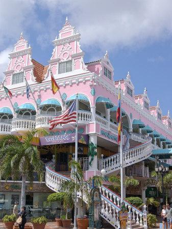 Dutch Architecture of Oranjestad Shops, Aruba, Caribbean-Lisa S^ Engelbrecht-Framed Photographic Print