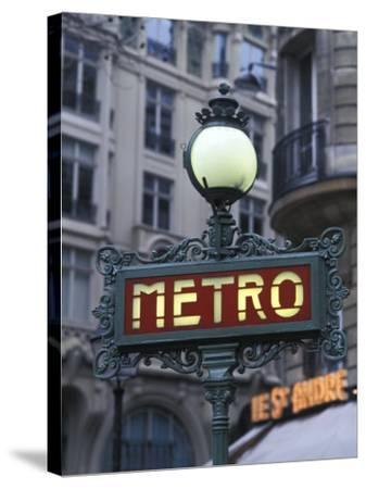 Metro Signage in Paris, France-Bill Bachmann-Stretched Canvas Print