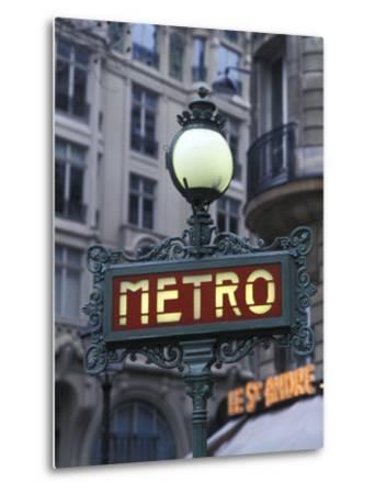 Metro Signage in Paris, France-Bill Bachmann-Metal Print