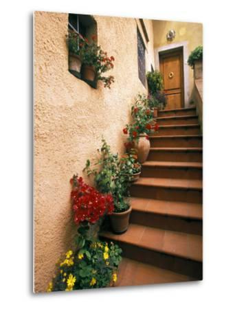 Tuscan Staircase, Italy-Walter Bibikow-Metal Print