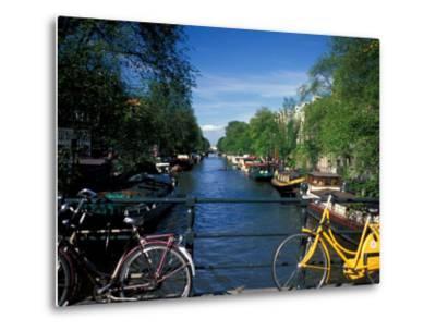 Yellow Bicycle and Canal, Amsterdam, Netherlands-Nik Wheeler-Metal Print