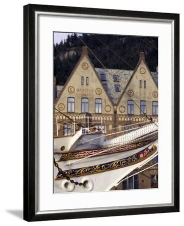 Traditional Architecture and Vessel of Bergen, Norway-Michele Molinari-Framed Photographic Print