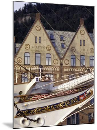 Traditional Architecture and Vessel of Bergen, Norway-Michele Molinari-Mounted Photographic Print
