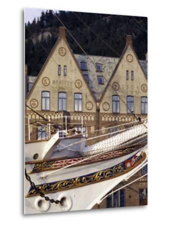 Traditional Architecture and Vessel of Bergen, Norway-Michele Molinari-Metal Print