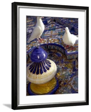 White Doves in Plaza Tiled Fountain, Sevilla, Spain-John & Lisa Merrill-Framed Photographic Print