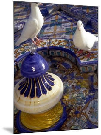 White Doves in Plaza Tiled Fountain, Sevilla, Spain-John & Lisa Merrill-Mounted Photographic Print