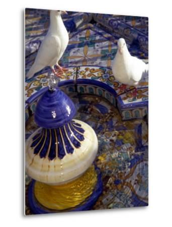 White Doves in Plaza Tiled Fountain, Sevilla, Spain-John & Lisa Merrill-Metal Print