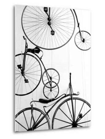 Bicycle Display at Swiss Transport Museum, Lucerne, Switzerland-Walter Bibikow-Metal Print
