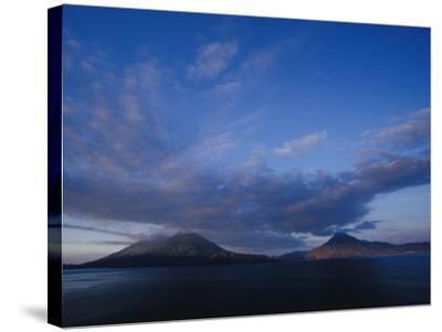 Scenic Volcanos at Sunset, Lake Atitlan, Guatemala-John & Lisa Merrill-Stretched Canvas Print