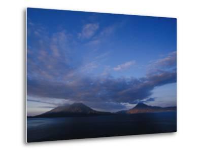 Scenic Volcanos at Sunset, Lake Atitlan, Guatemala-John & Lisa Merrill-Metal Print