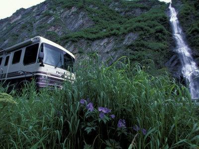 RV and Bridal Veil Falls in Keystone Canyon, Valdez, Alaska, USA-Paul Souders-Framed Photographic Print
