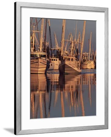 Shrimp Boats Tied to Dock, Darien, Georgia, USA-Joanne Wells-Framed Photographic Print