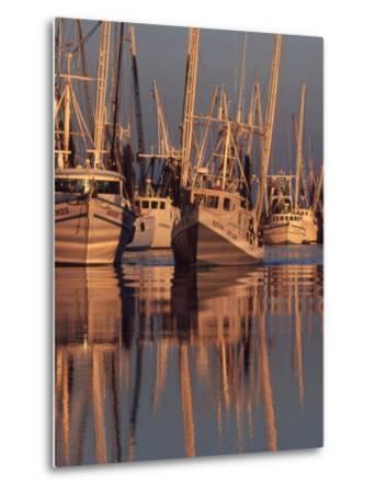 Shrimp Boats Tied to Dock, Darien, Georgia, USA-Joanne Wells-Metal Print