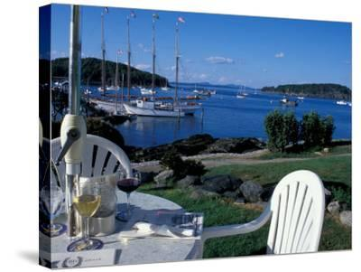 Restaurant at the Bar Harbor Inn and View of the Porcupine Islands, Maine, USA-Jerry & Marcy Monkman-Stretched Canvas Print