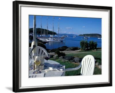 Restaurant at the Bar Harbor Inn and View of the Porcupine Islands, Maine, USA-Jerry & Marcy Monkman-Framed Photographic Print