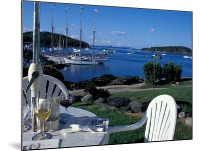 Restaurant at the Bar Harbor Inn and View of the Porcupine Islands, Maine, USA-Jerry & Marcy Monkman-Mounted Photographic Print