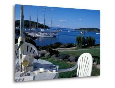Restaurant at the Bar Harbor Inn and View of the Porcupine Islands, Maine, USA-Jerry & Marcy Monkman-Metal Print