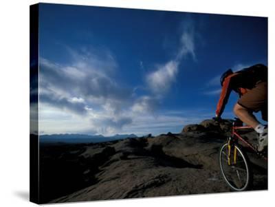 Mountain Biking on the Moab Slickrock Bike Trail, Navajo Sandstone, Utah, USA-Jerry & Marcy Monkman-Stretched Canvas Print