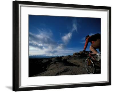 Mountain Biking on the Moab Slickrock Bike Trail, Navajo Sandstone, Utah, USA-Jerry & Marcy Monkman-Framed Photographic Print