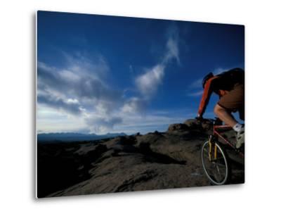 Mountain Biking on the Moab Slickrock Bike Trail, Navajo Sandstone, Utah, USA-Jerry & Marcy Monkman-Metal Print