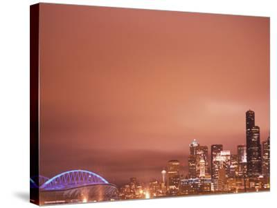 Downtown and Qwest Field, Seattle, King County, Washington, USA-Brent Bergherm-Stretched Canvas Print