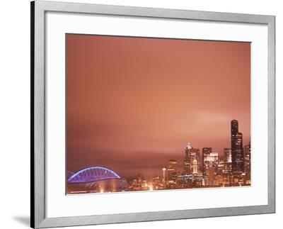 Downtown and Qwest Field, Seattle, King County, Washington, USA-Brent Bergherm-Framed Photographic Print