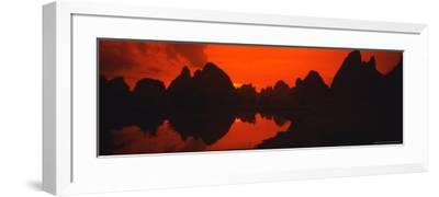 Panoramic of Guilin, Yangshao Li River, Limestone Mountains, China-Bill Bachmann-Framed Photographic Print