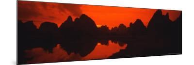 Panoramic of Guilin, Yangshao Li River, Limestone Mountains, China-Bill Bachmann-Mounted Photographic Print