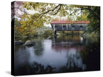 Tranquil Scene with Covered Bridge--Stretched Canvas Print