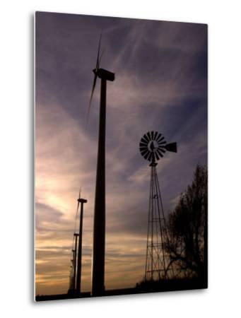 A Row of Wind Turbines-Charlie Riedel-Metal Print