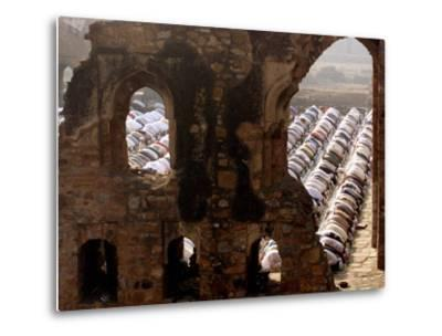 Muslims Offer Eid Prayers at the Ruins of Jami Mosque, Which was Built in 1345 AD-Manish Swarup-Metal Print
