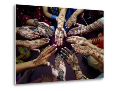 Pakistani Girls Show Their Hands Painted with Henna Ahead of the Muslim Festival of Eid-Al-Fitr-Khalid Tanveer-Metal Print