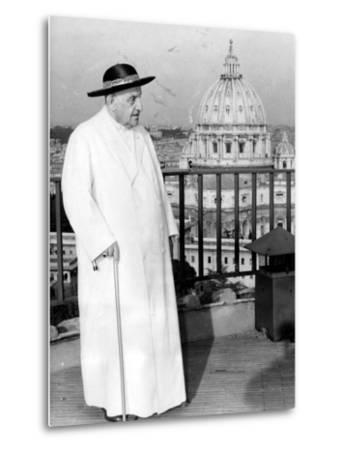 Pope John XXIII on the Terrace of a IX-Century Tower in the Vatican Gardens April 15, 1963--Metal Print