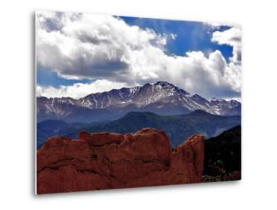 The Sun Breaks Through the Clouds to Highlight the Summit of Pikes Peak--Metal Print