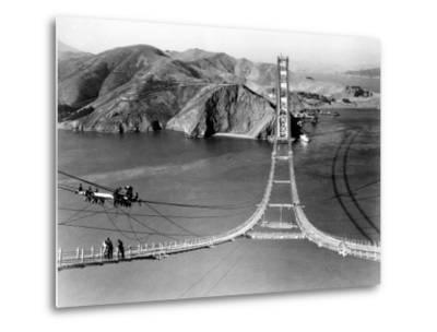 Workers Complete the Catwalks for the Golden Gate Bridge--Metal Print